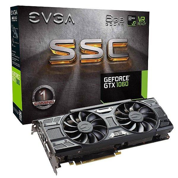 Placa de Vídeo Geforce GTX 1060 ACX 3.0 SSC 6gbs GDDR5 - 192 Bits EVGA 06G-P4-6267-KR