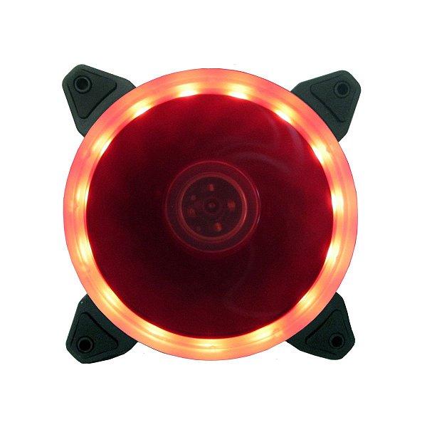 Cooler Fan P/ Gabinete 12CM 1200 RPM BlueCase RING BFR-05R LED Vermelho