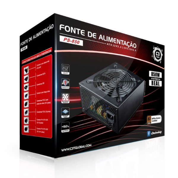 Fonte ATX 850 Watts Potência Real Modular C/ PFC Ativo C3 TECH PS-850 - 80% Plus Bronze