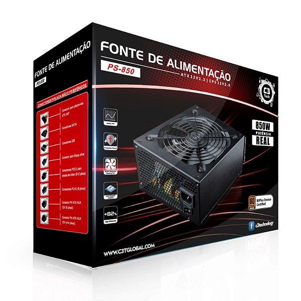 Fonte ATX 850 Watts Potência Real Modular C/ PFC Ativo C3 TECH PS-850 - 80% Plus Bronze