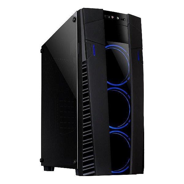 Gabinete ATX Gamer Mymax Eclipse Preto C/ 3 Coolers Ring LED AZUL, Tampa de Vidro e USB 3.0 Frontal - MCA-FC-EC09A/BL