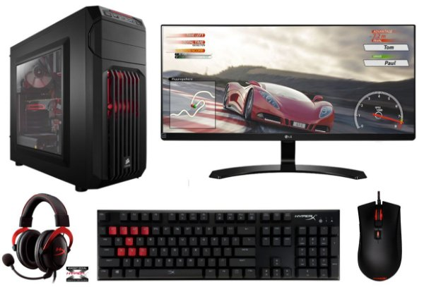 PC Gamer Super Completo Intel Core I7 Kaby Lake 7700, 16GB DDR4, SSD 120GB, HD 1TB, Geforce GTX 1060 OC 6GB, Monitor LED 29 Polegadas, Teclado e Mouse Gamer HyperX