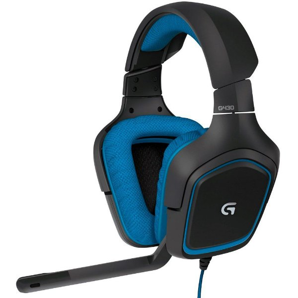 Headset Gamer Logitech com Som Surround 7.1 G430 Preto e Azul