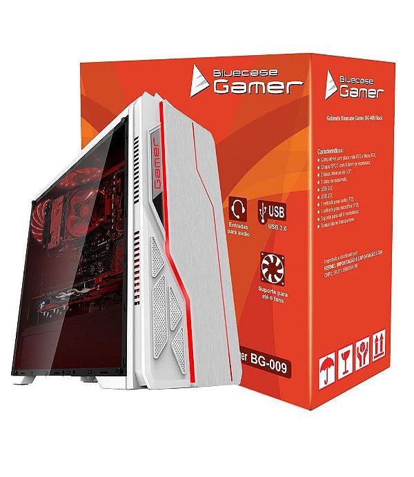 Gabinete ATX Gamer Bluecase BG-009 Branco C/ Iluminação Frontal RGB, Tampa Lateral em Acrílico e USB 3.0 Frontal - BG009WGCASE