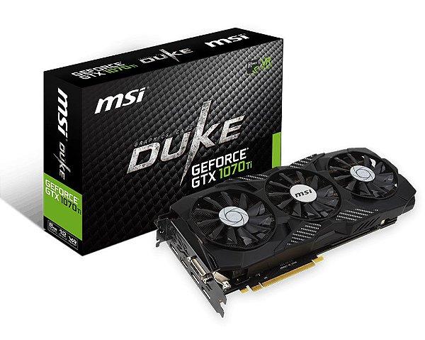 Placa de Vídeo Geforce GTX 1070TI DUKE 8GB GDDR5 - 256 Bits Triple FAN DVI-D/HDMI/3X DISPLAYPORT 912-V330-224 - MSI