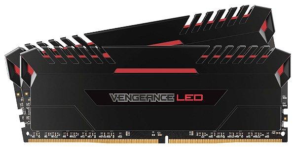 Memória Corsair Vengeance LED 16GB (2x8GB) 3000Mhz DDR4 CL15 Red - CMU16GX4M2C3000C15R