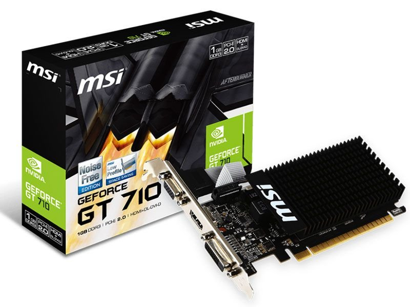 Placa de Vídeo Geforce GT 710 - 1GB DDR3 - 64 BIT MSI 912-V809-2022