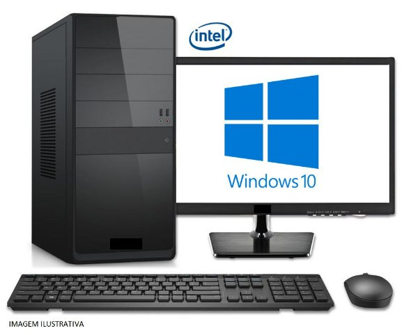 Computador Completo Home Pro Intel Core I5 Kaby Lake 7400, 8GB DDR4, HD 1TB, DVD, Monitor LED 21.5, Teclado e Mouse USB