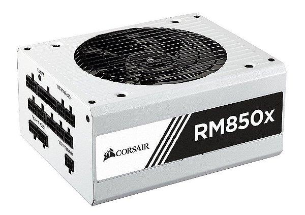 Fonte ATX 850 Watts Potência REAL FULL MODULAR C/ PFC Ativo CORSAIR SERIE RM850X WHITE - CP-9020156-WW