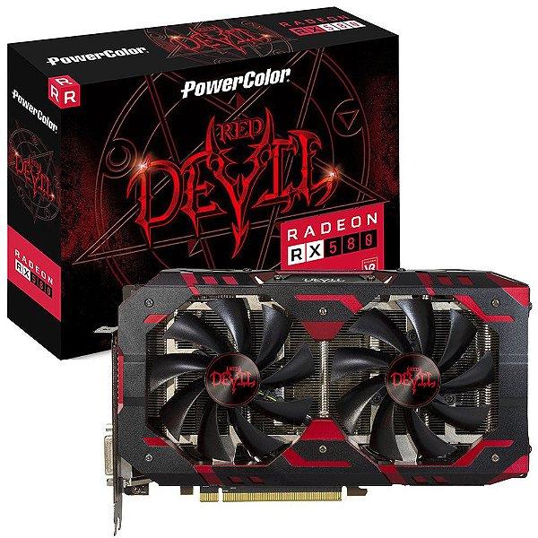 Placa de Vídeo GPU AMD Radeon RX 580 OC 8GB GDDR5 - 256 Bits Power Color RED DEVIL AXRX580 8GBD5-3DH/OC