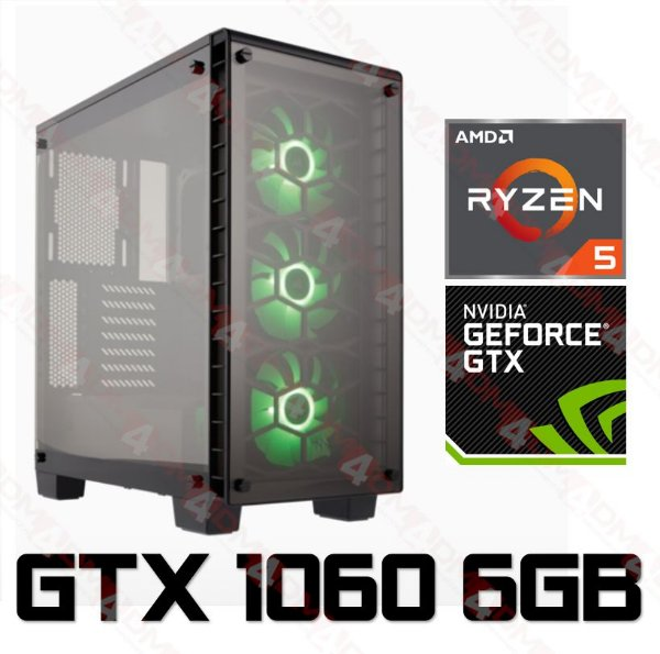 PC Gamer AMD Ryzen 5 2600, 16GB DDR4, SSD 240GB, HD 1TB, Geforce GTX 1060 OC 6GB