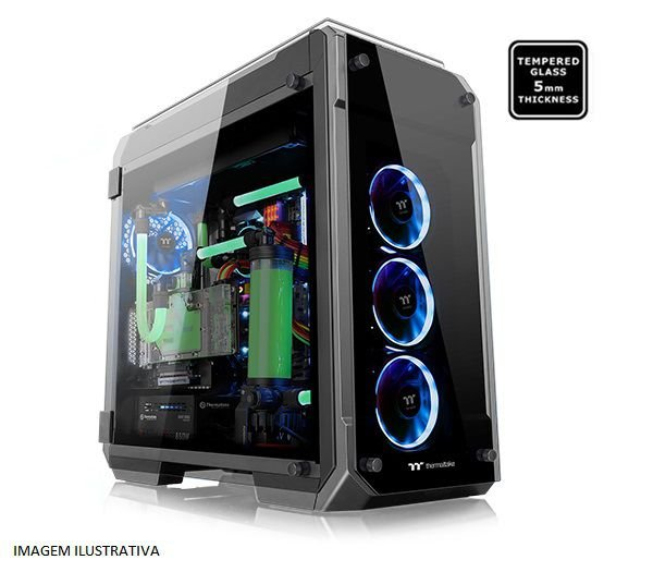 Gabinete FULL TOWER Thermaltake View 71 TG Black C/ Tampa Lateral em Vidro, USB 3.0 TT CA-1I7-00F1WN-00