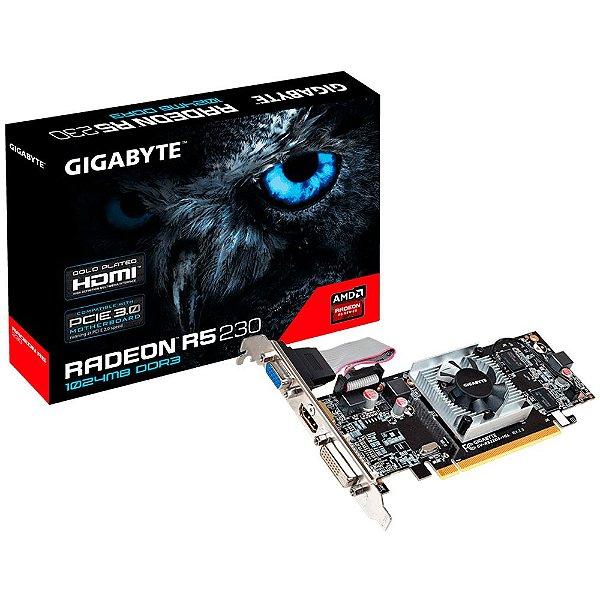 Placa de Vídeo AMD Radeon R5 230 1GB DDR3 64 BIT PCI EXPRESS GIGABYTE GV-R523D3-1GL