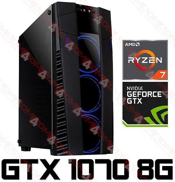 (Recomendado) PC Gamer AMD Ryzen 7 2700, 16GB DDR4, SSD M.2 120GB, HD 2 TERAS, GPU Geforce GTX 1070 OC 8GB