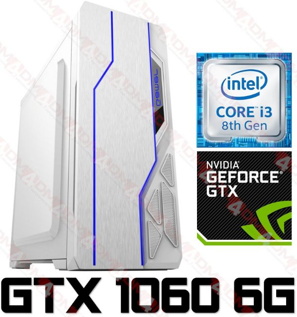 (Recomendado) PC Gamer Intel Core  I3 Coffee  Lake 8100, 8GB DDR4, SSD 480GB, GPU Geforce GTX 1060 OC 6GB