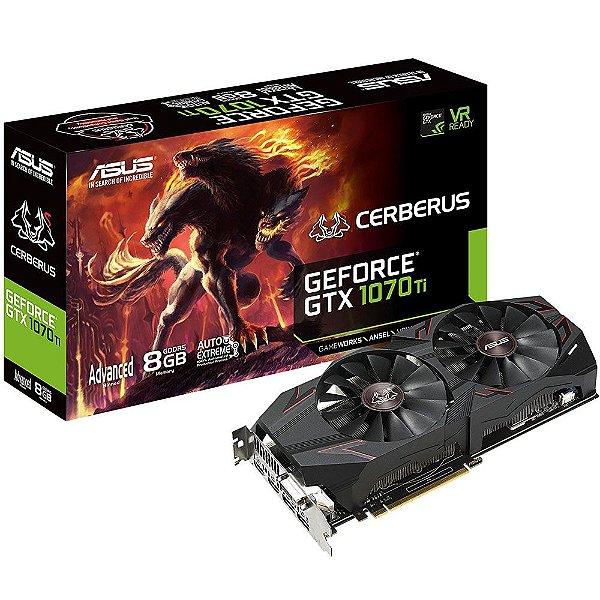 Placa de Vídeo GPU Geforce GTX 1070TI ASUS CERBERUS 8GB GDDR5 256 BITS CERBERUS-GTX1070TI-A8G