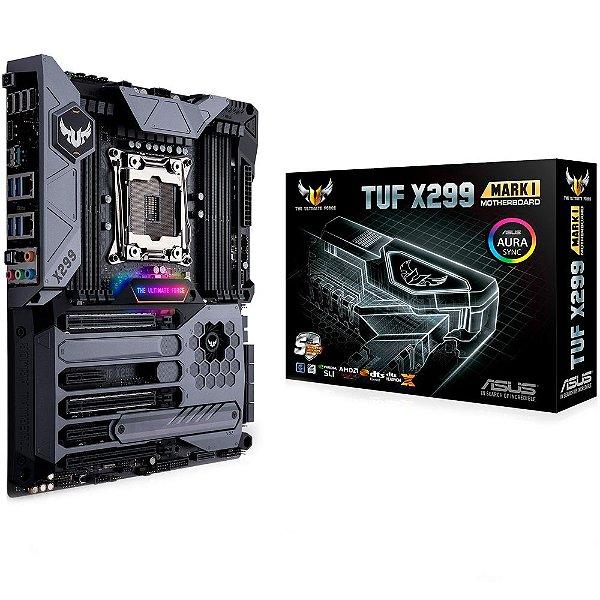 Placa-Mãe ASUS p/ Intel LGA 2066, ATX, TUF X299 MARK 1, DDR4, SLI/CrossFireX, CODEC de alta definição, TUF Components, TUF gelo, ASUS Q-Shield