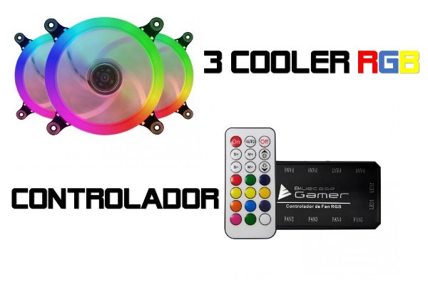 KIT 3 COOLERS RING RGB 12CM 1200 RPM RGB BLUECASE BFR-09RGB C/ CONTROLADOR