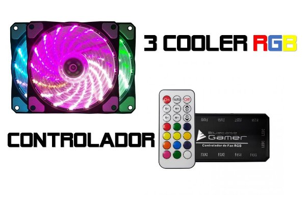 KIT 3 COOLERS RGB 12CM 1200 RPM RGB BLUECASE BFR-08RGB C/ CONTROLADOR