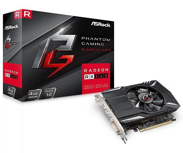 Placa de Vídeo GPU AMD Radeon RX 560 4GB GDDR5 - 128 Bits ASROCK PHANTOMM GAMING - 90-GA0620-00UANF