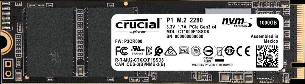 SSD CRUCIAL P1 M.2 2280 1 Tera NVMe Leituras: 2000MB/s e Gravações: 1700MB/s - CT1000P1SSD8