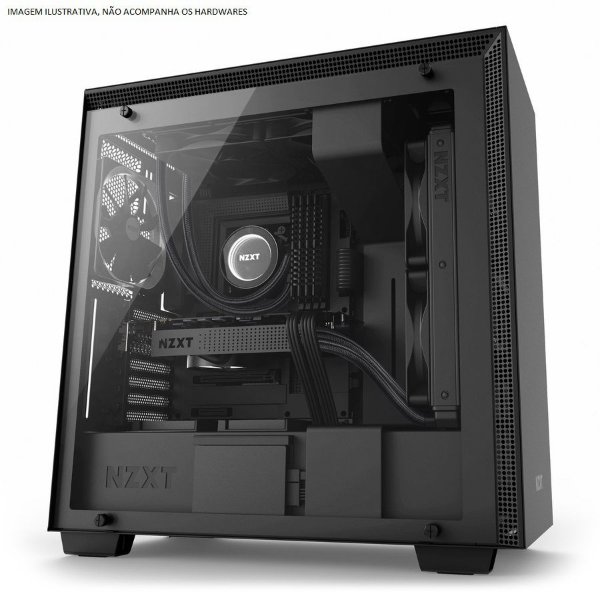 Gabinete ATX Gamer C/ Lateral em Vidro Temperado e USB 3.0 Frontal NZXT H700 MATTE BLACK - CA-H700B-B1