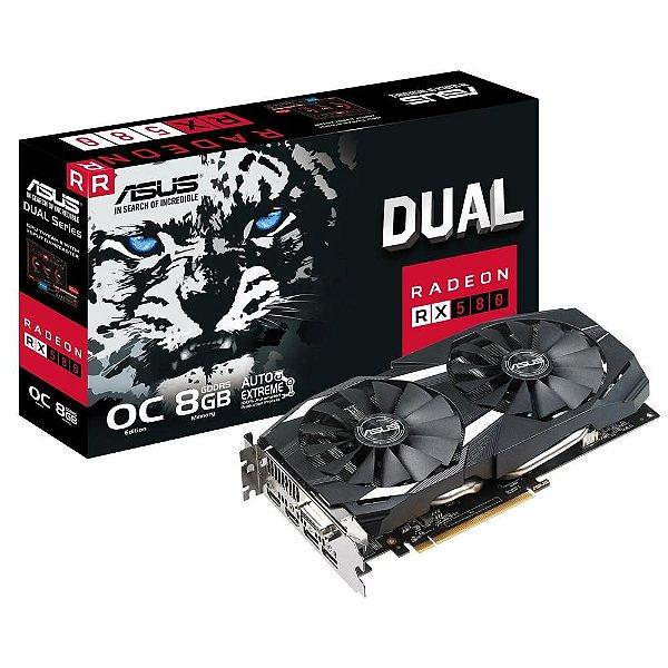 Placa de Vídeo GPU ASUS AMD RADEON RX 580 OC 8GB GDDR5 - 256 BITS DUAL-RX580-O8G