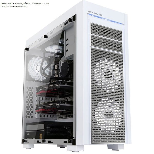Gabinete Gamer FULL Tower Mymax Horus C/ Tampa Lateral em Vidro, USB 3.0 Frontal - MCA-HORUS/WH