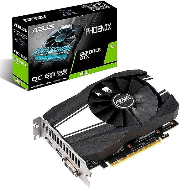 Placa de Vídeo GPU GEFORCE GTX 1660 OC 6GB GDDR5 192 BITS ASUS PHOENIX - PH-GTX1660-O6G