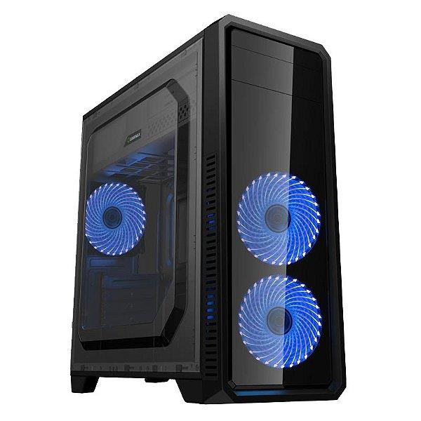 Gabinete Micro ATX Gamer GAMEMAX ECO G561 PLUS C/ Acrílico Lateral, USB 3.0 e 3 Cooler LED AZUL