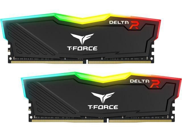 Memória 32GB DDR4 CL16 3200 Mhz TEAM FORCE DELTA RGB BLACK - TF3D432G3200HC16CDC01 (2X16GB)