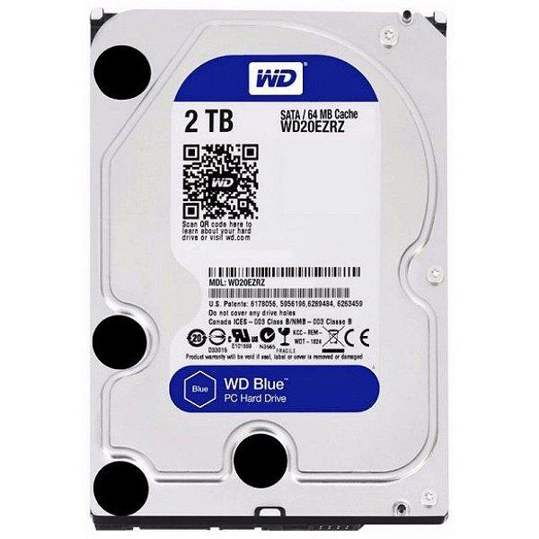 HD Interno P/ Desktop 2 Teras Sata 6Gbs 5400 Rpm 64MB Cache - Western Digital Blue WD20EZRZ