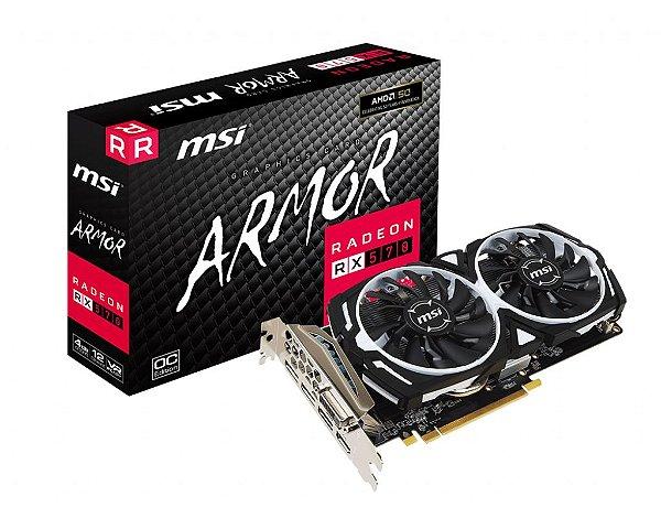 Placa de Vídeo GPU AMD RADEON RX 570 OC 4GB GDDR5 - 256 BITS MSI ARMOR - 912-V341-422