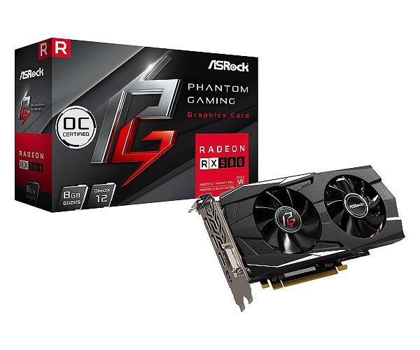 Placa de Vídeo AMD Radeon RX 580 OC 8GB GDDR5 - 256 Bits PHANTOM GAMING - 90-GA0M20-00UANF