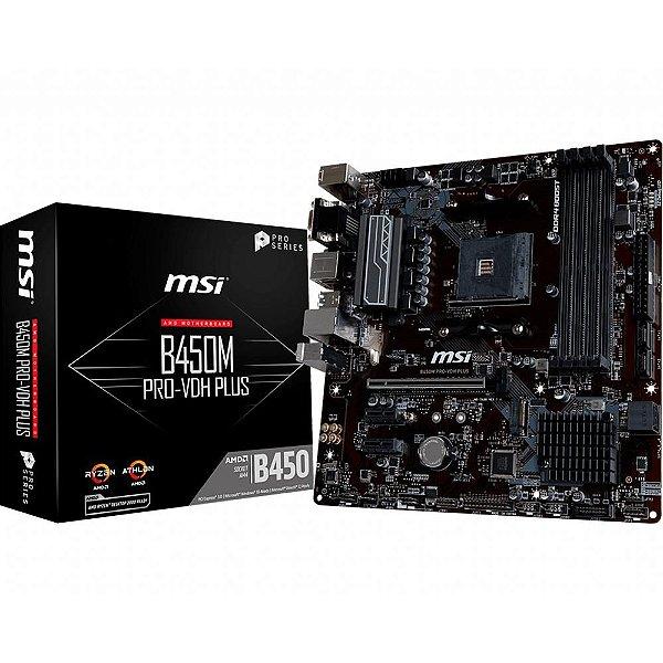 Placa Mãe MSI CHIPSET AMD B450M PRO-VDH PLUS SOCKET AM4