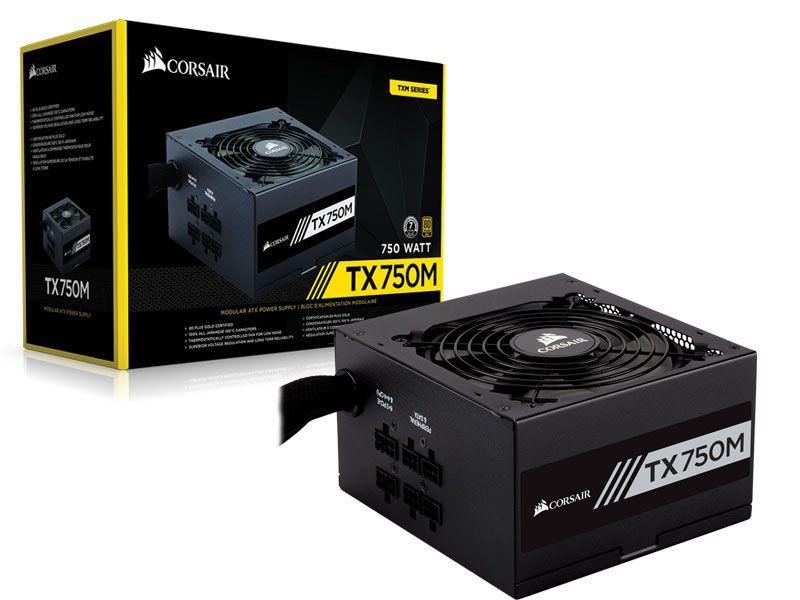Fonte ATX 750 Watts Reais Semi Modular C/ PFC Ativo CORSAIR TX750M CP-9020131-WW - 80 PLUS GOLD