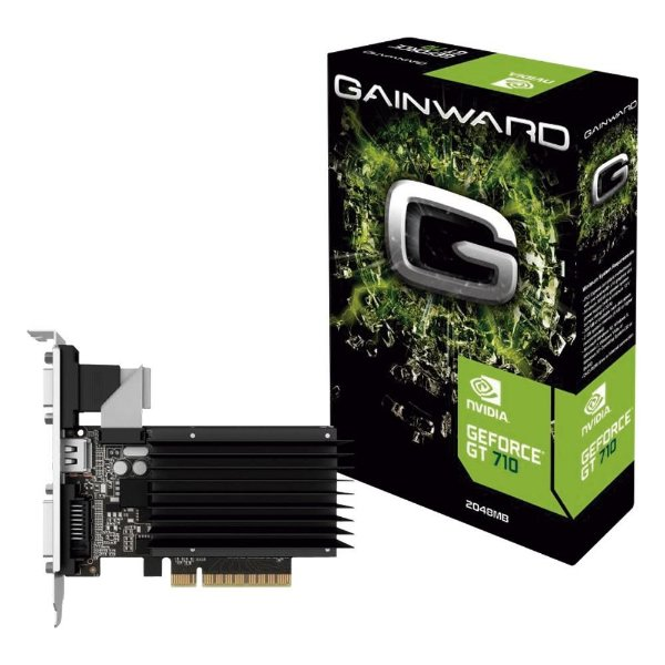 Placa de Vídeo GPU NVIDIA GEFORCE GT 710 2GB DDR3 - 64 BITS GAINWARD - NEAT7100HD46-2080H