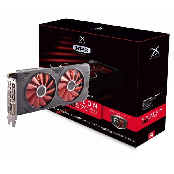 Placa de Vídeo GPU AMD RADEON RX 570 OC 4GB GDDR5 - 256 BITS XFX RX-570P4DFD6