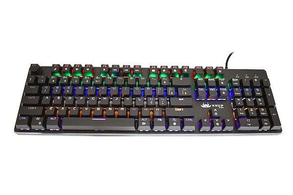 Teclado Gamer Mecânico Anti-Ghosting C/ Iluminação RGB Switch Blue - KNUP KP-2052