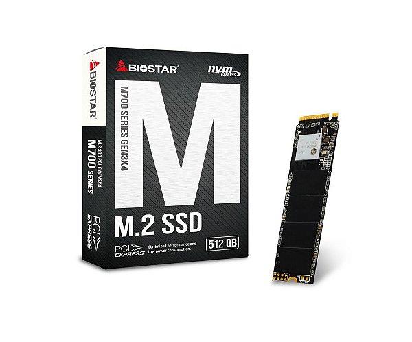 SSD M.2 PCI-E NVME 512GB BIOSTAR Leituras: 1700MB/s e Gravações: 1450MB/s  - M700