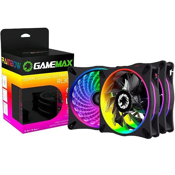 Kit Cooler Fan Gamemax com 3 Unidades, Rainbow, 12cm, Controle Remoto - RL300