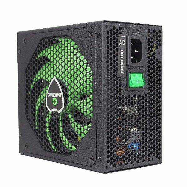 Fonte ATX 550 Watts Potência Real C/ PFC Ativo Bivolt Automático GAMEMAX GM550 Black - 80% Plus Bronze