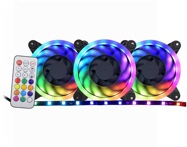 KIT 3 FANS LED RGB RAINBOW + FITA LED + CONTROLE AF-Y1225 K-MEX