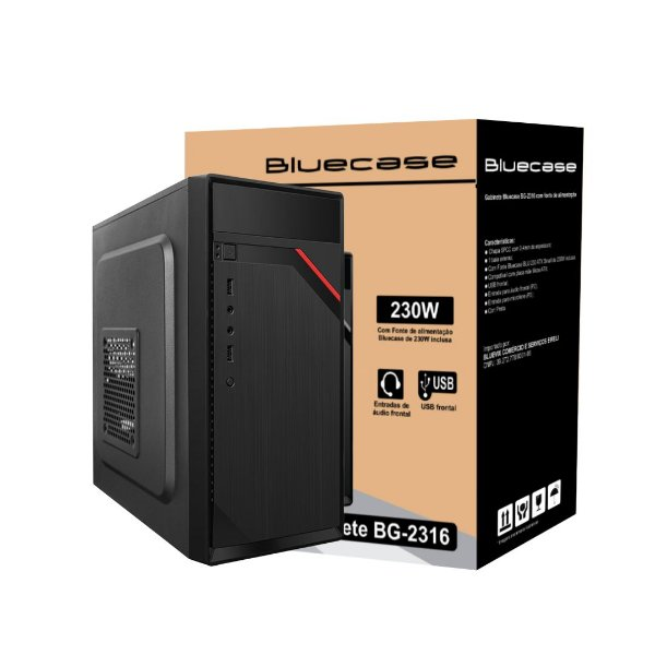 Gabinete Micro ATX Home C/ 2 USB Frontal e Fonte Inclusa BlueCase BG-2316