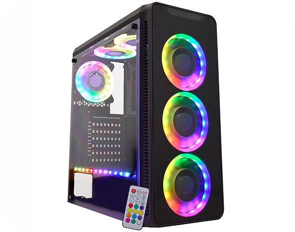 Gabinete ATX Gamer K-MEX INFINITY 5 RGB C/ Lateral em Acrílico, 3 Coolers RGB, USB 3.0 Frontal - CG-05G8