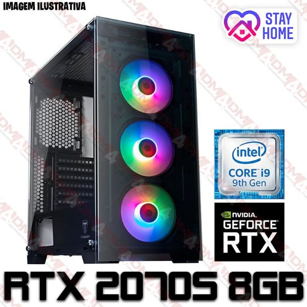 (SUPER RECOMENDADO) PC Gamer Intel Core i9 Coffee Lake 9900K, 64GB DDR4, SSD NVME 1TB, GPU GEFORCE RTX 2070 SUPER OC 8GB