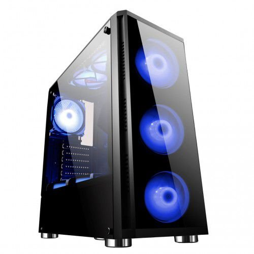 Gabinete ATX Gamer  C/ FRENTE E TAMPA LATERAL EM VIDRO, USB 3.0 FRONTAL + 4 COOLERS LED AZUL