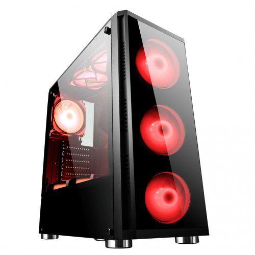 Gabinete ATX Gamer C/ FRENTE E TAMPA LATERAL EM VIDRO, USB 3.0 FRONTAL + 4 COOLERS LED VERMELHO