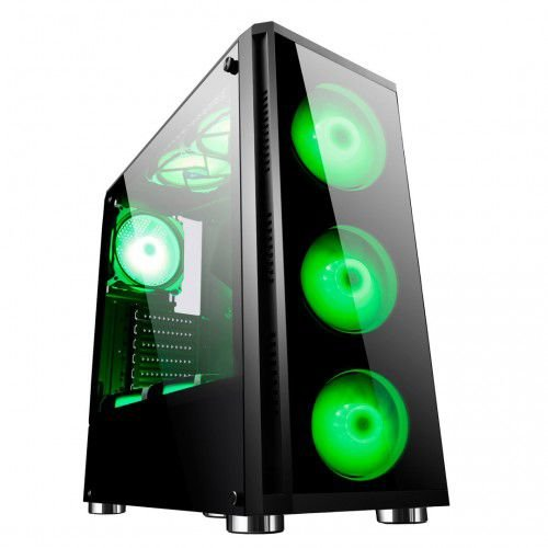 Gabinete ATX Gamer C/ TAMPA LATERAL EM VIDRO, USB 3.0 FRONTAL + 4 COOLERS LED VERDE