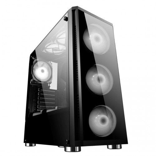 Gabinete ATX Gamer  C/ FRENTE E TAMPA LATERAL EM VIDRO, USB 3.0 FRONTAL + 4 COOLERS LED BRANCO
